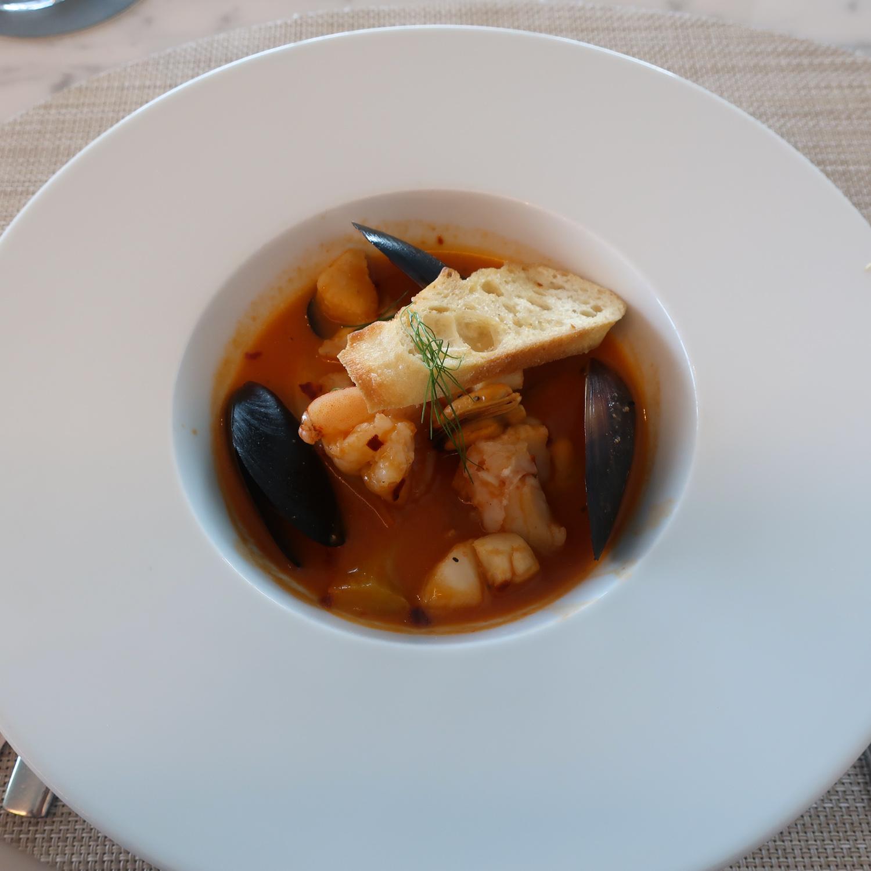 Cioppino with Seafood - United Polaris Lounge  Photo: Calvin Wood