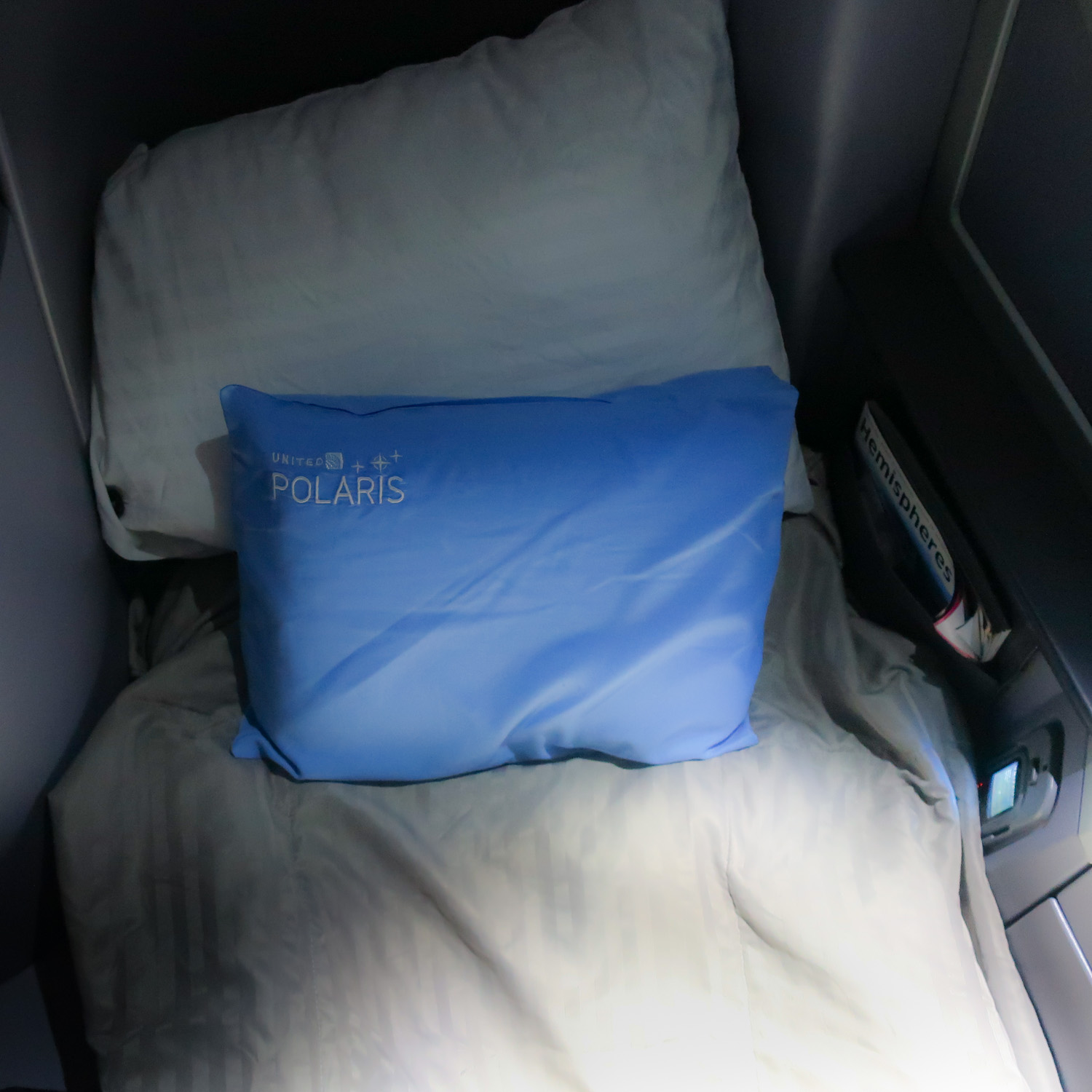Bed Mode - United Polaris Business Class - 787  Photo: Calvin Wood