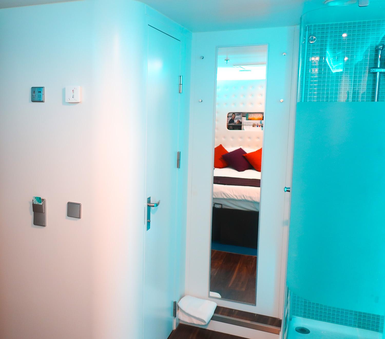 Bathroom and Shower Stalls - NCL Escape Studio Cabin  Photo: Calvin Wood