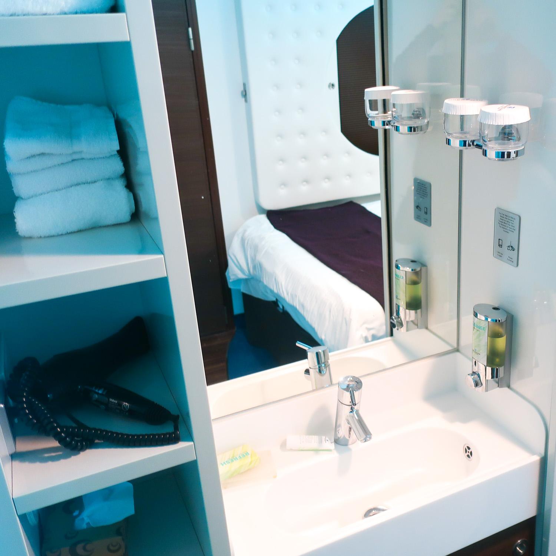 Vanity Area - NCL Escape Studio Cabin  Photo: Calvin Wood