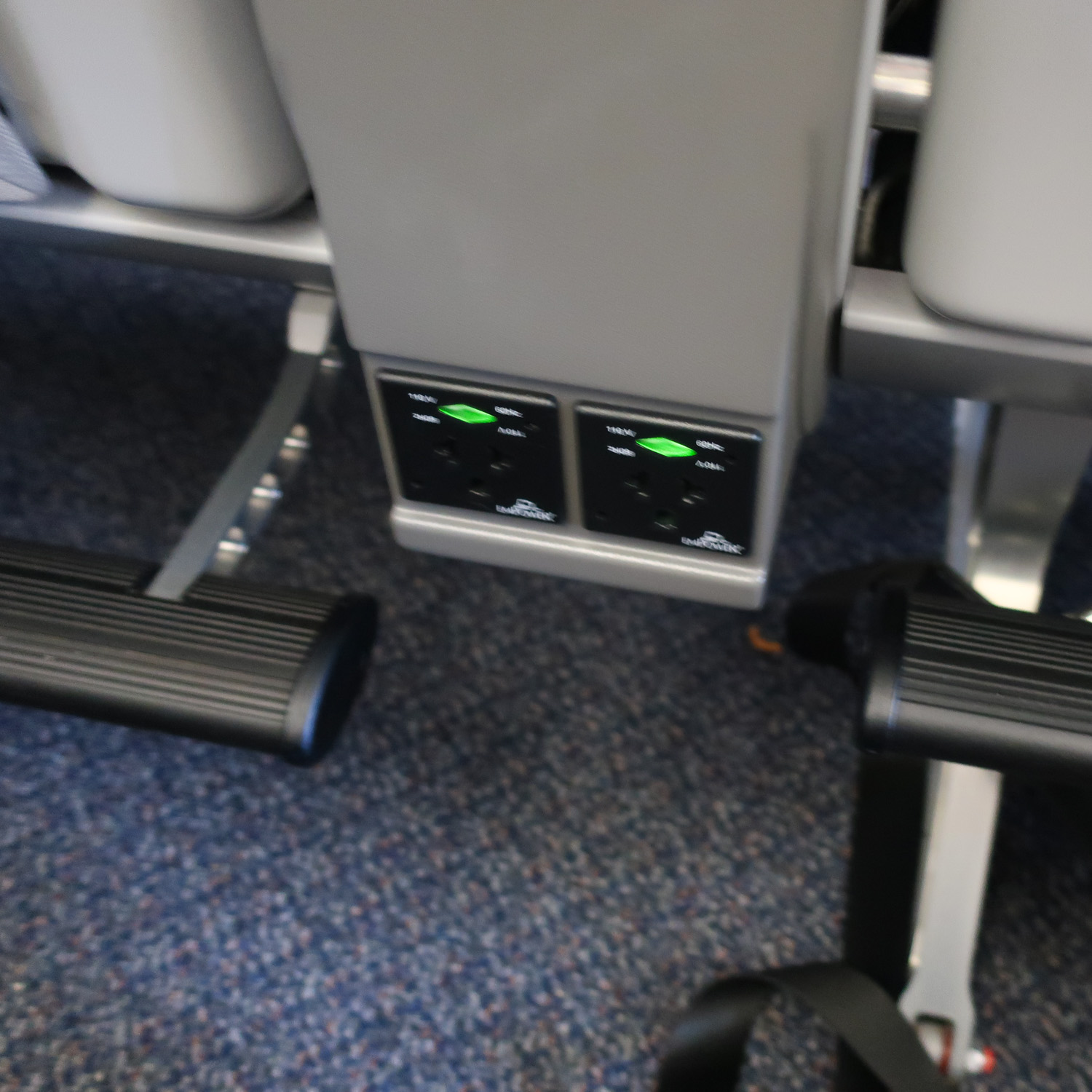 Chargers for Each Seat - AC A330 - Premium Economy  Photo: Calvin Wood