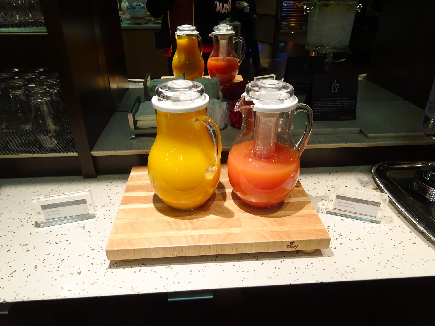 Tasty Juices - Air Canada Lounge - Vancouver  Photo: Calvin Wood