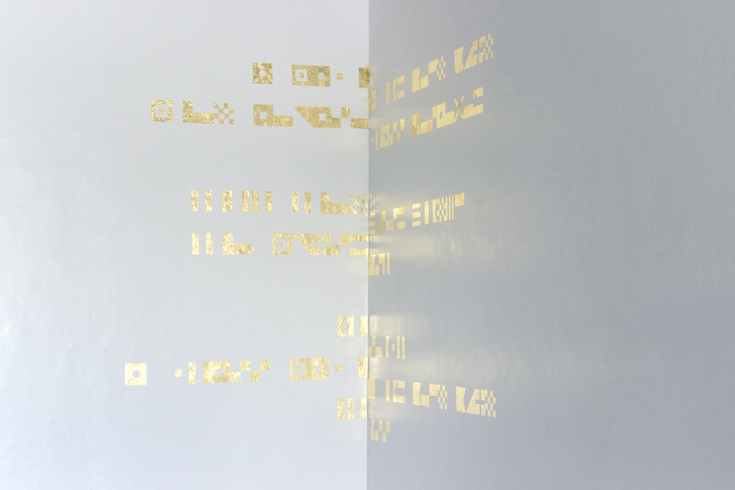 Place Poem (ii) , 2016 gold foil on gallery wall. 190cm x 115cm x 140cm.