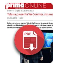 9 ottobre 2018  Telesia presenta WeCounter, strumento di post analisi per la Go Tv