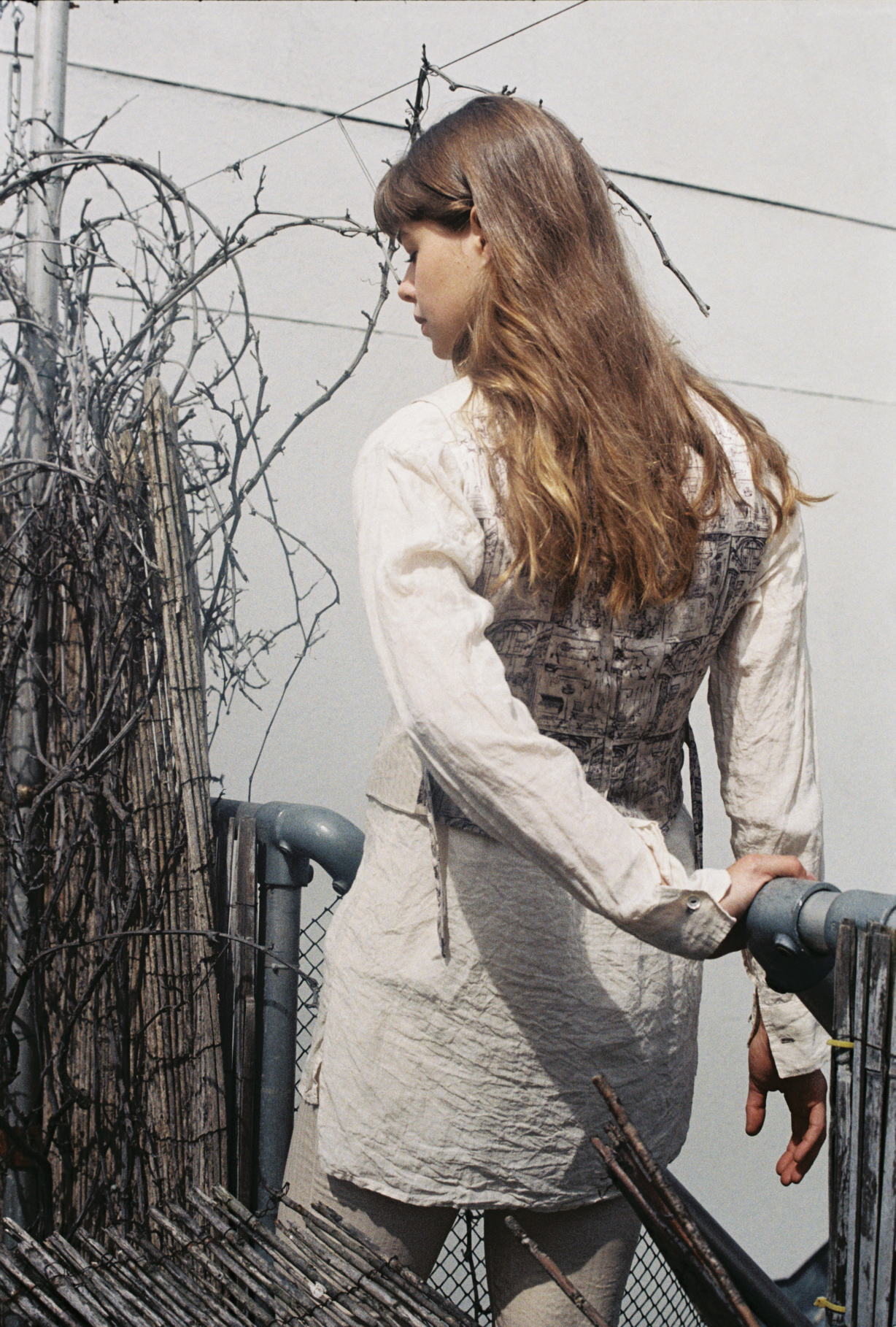 One hand-woven shirt and waistcoat by Geoffrey b. Small, photographed by Ryan Skelton, model Pauline de Bionay