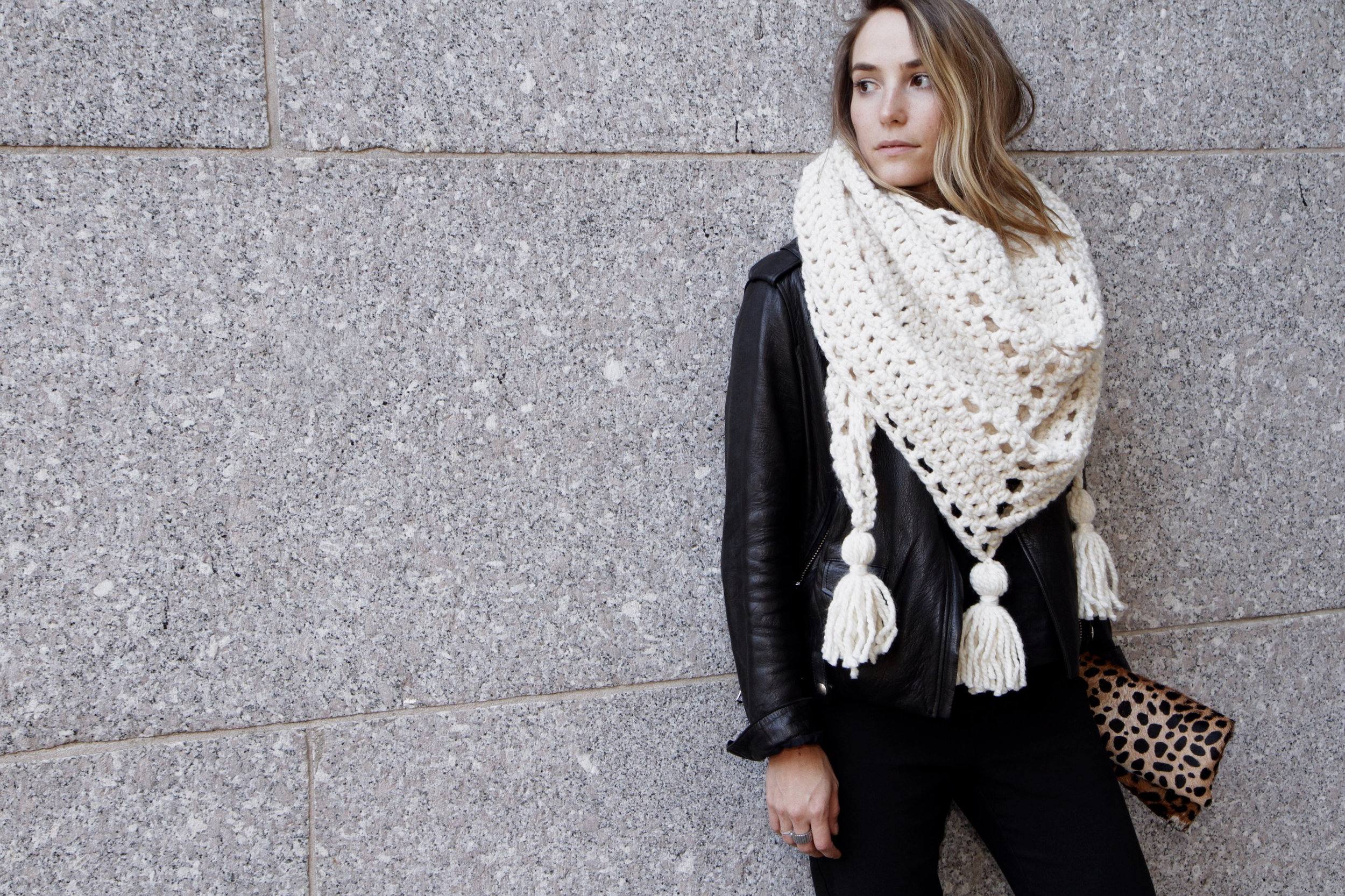 Louisa Wrap crochet pattern by Two of Wands // Triangle Scarf Tassels Boho Oversized Chunky Shawl