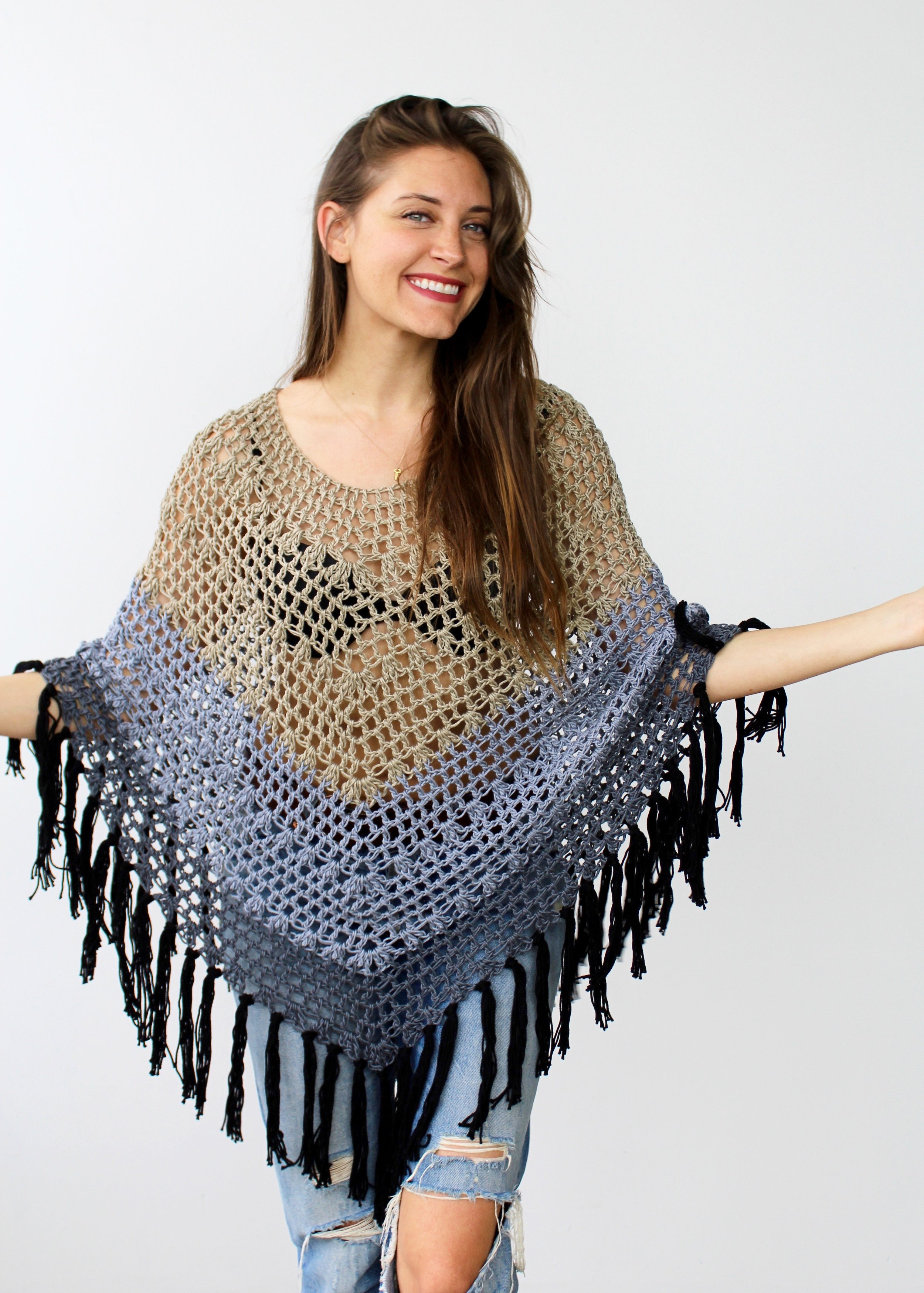 Ombré Canyon Poncho Pattern by Two of Wands