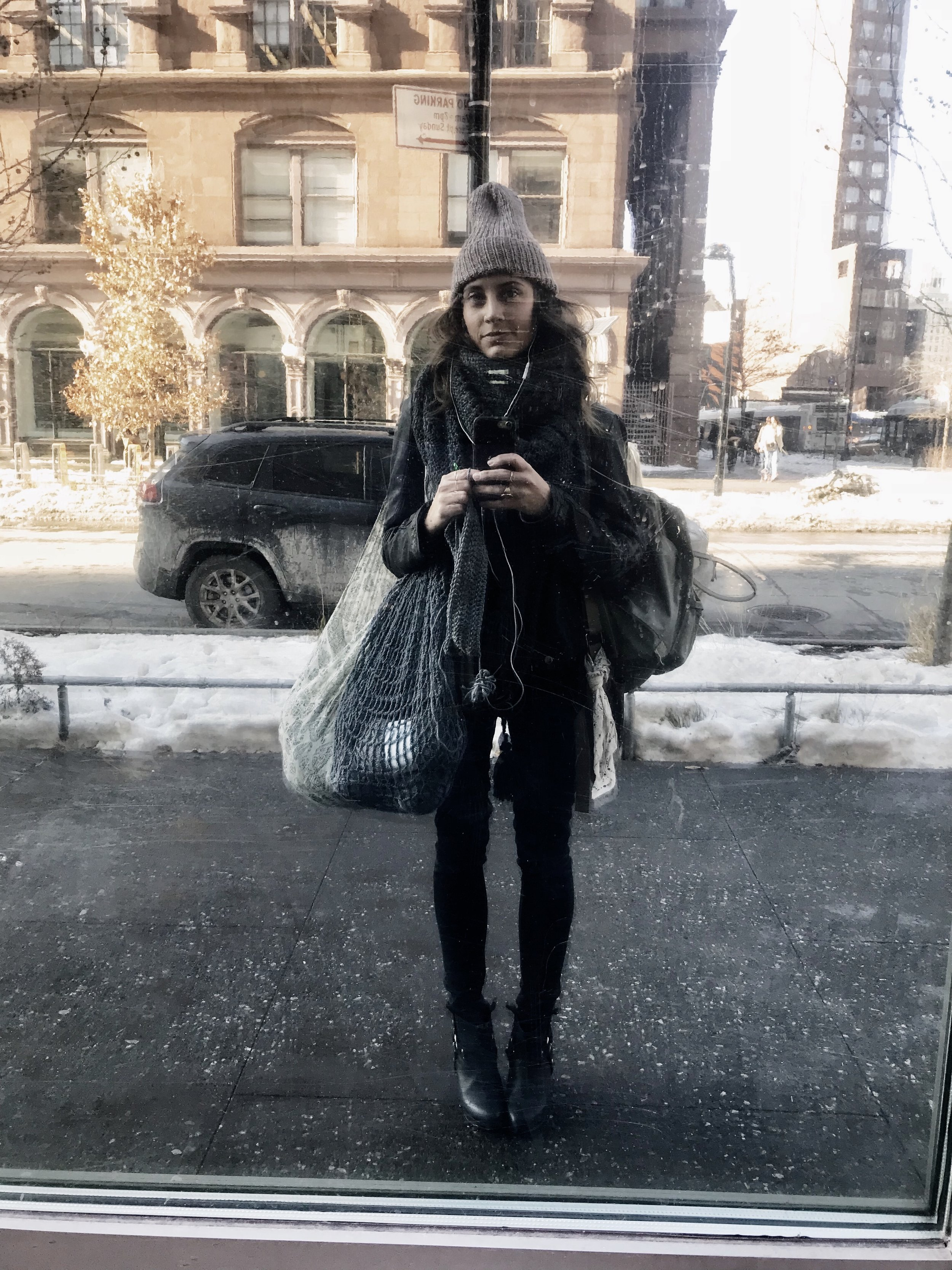 """Bag lady status, """"Santa Clausing"""" around town with my  French Market Bag ."""
