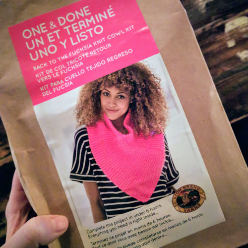 Back to the Fuchsia One & Done kit  generously donated by Lion Brand.