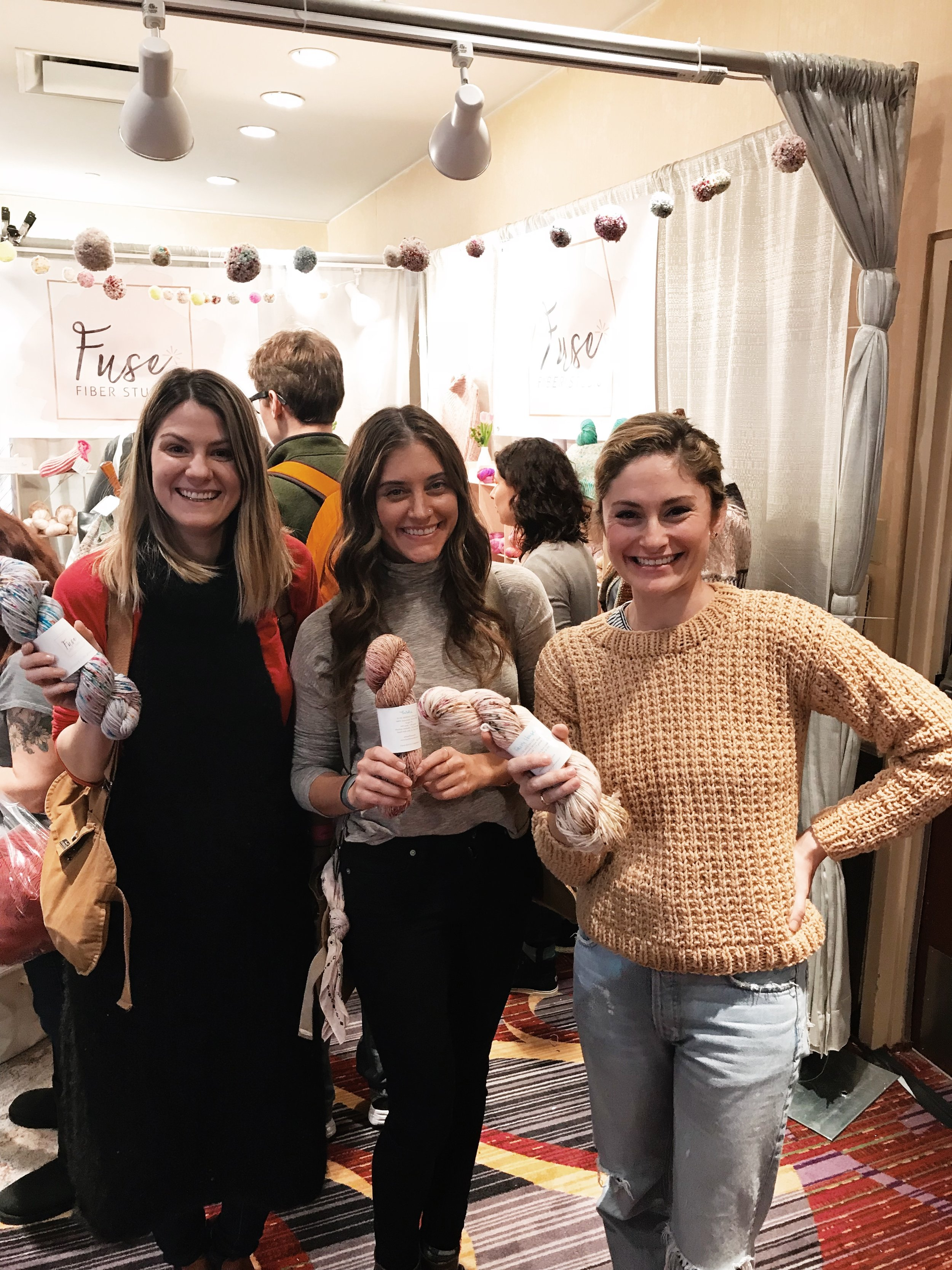 Paige and me laughing with Gabi Blumberg of  Maison Dene  over our new love of speckled yarn.