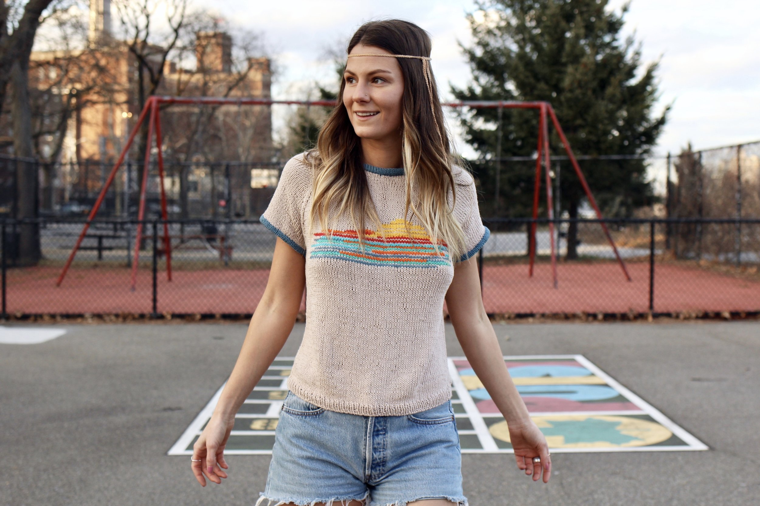 Sunset Ringer Tee pattern by Two of Wands