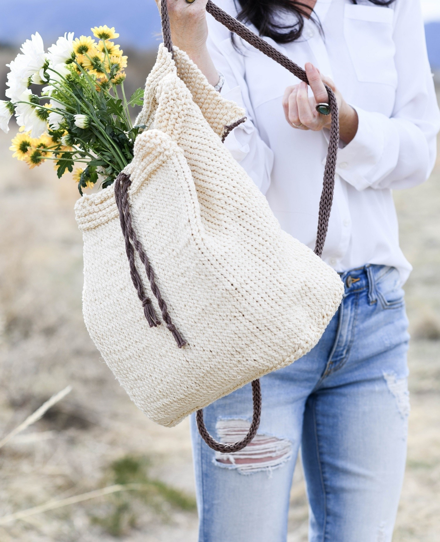 Straw Knit Backpack