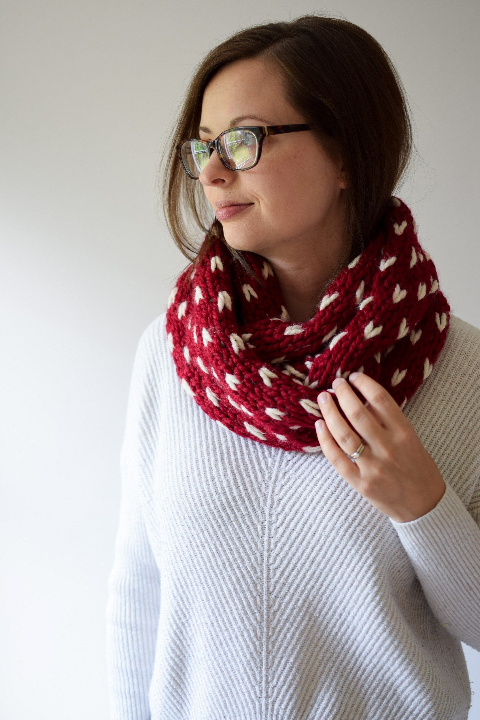Little Hearts Infinity Scarf by Knifty Knittings