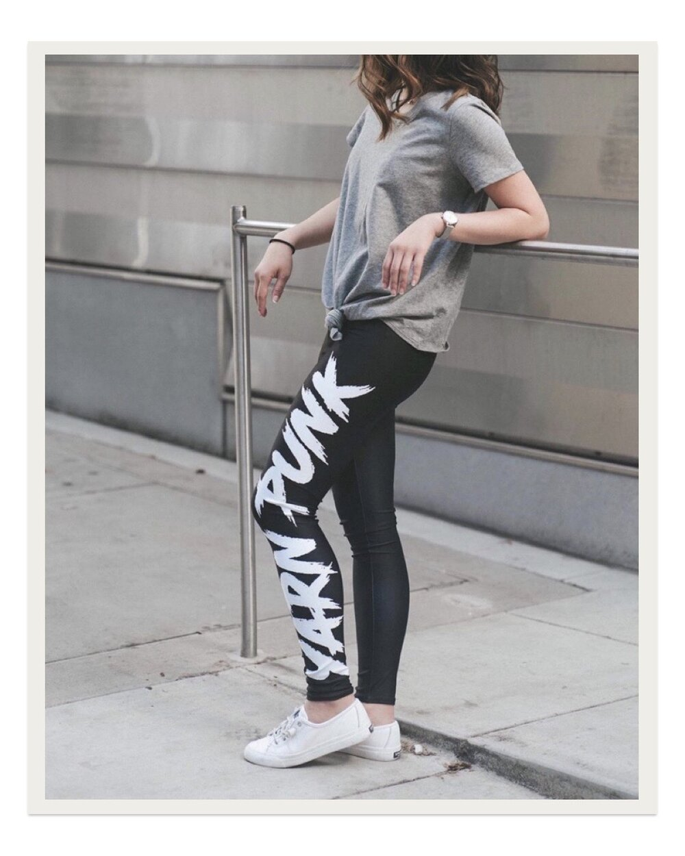 "Probably the coolest and most modern ""maker"" apparel I've seen, these Yarn Punk leggings are SO comfortable and stretchy. I've worn them to the gym, running errands, and at home while lounging and they are some of my fave comfy pants. The addition of the ""yarn punk"" text makes them so fun and cool!"