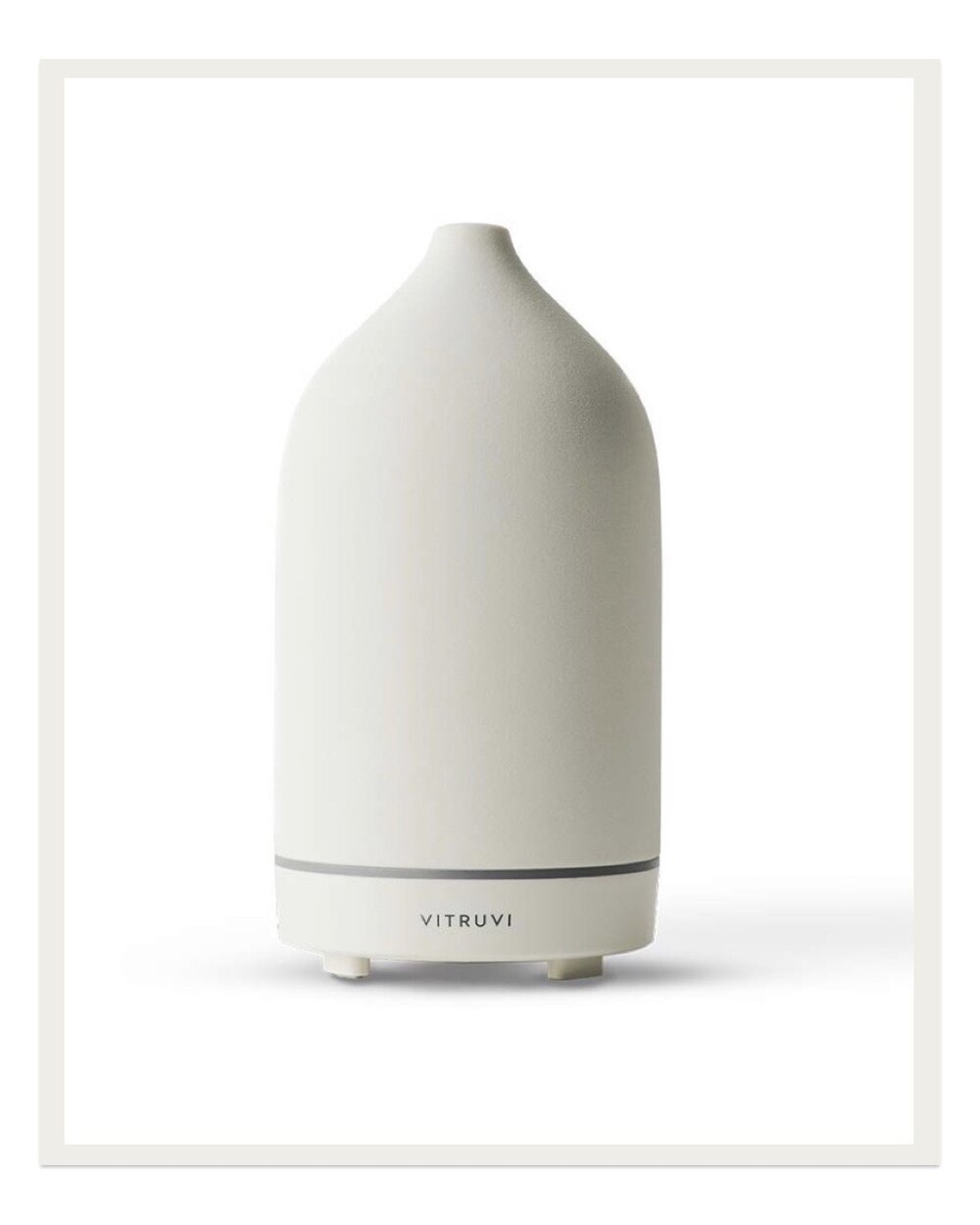 There are a lot of essential oil diffusers on the market, but I absolutely love my Vitruvi stone diffuser. It has two settings to either diffuse continuously for three hours or diffuse in intervals over the course of seven hrs. I use the three hour setting while working in the living room, then I plug it in next to my bed and use the seven hour setting while I sleep. It's so beautiful that it looks like a sculpture!