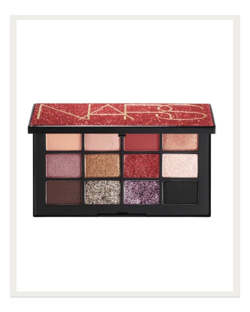 When I'm looking to get a little fancier, my new favorite product is this Inferno eyeshadow palette from Nars. I love the 70s inspired colors and sparkly options that glam up your look for nights on the town. I'm so excited to wear these shades to holiday parties!