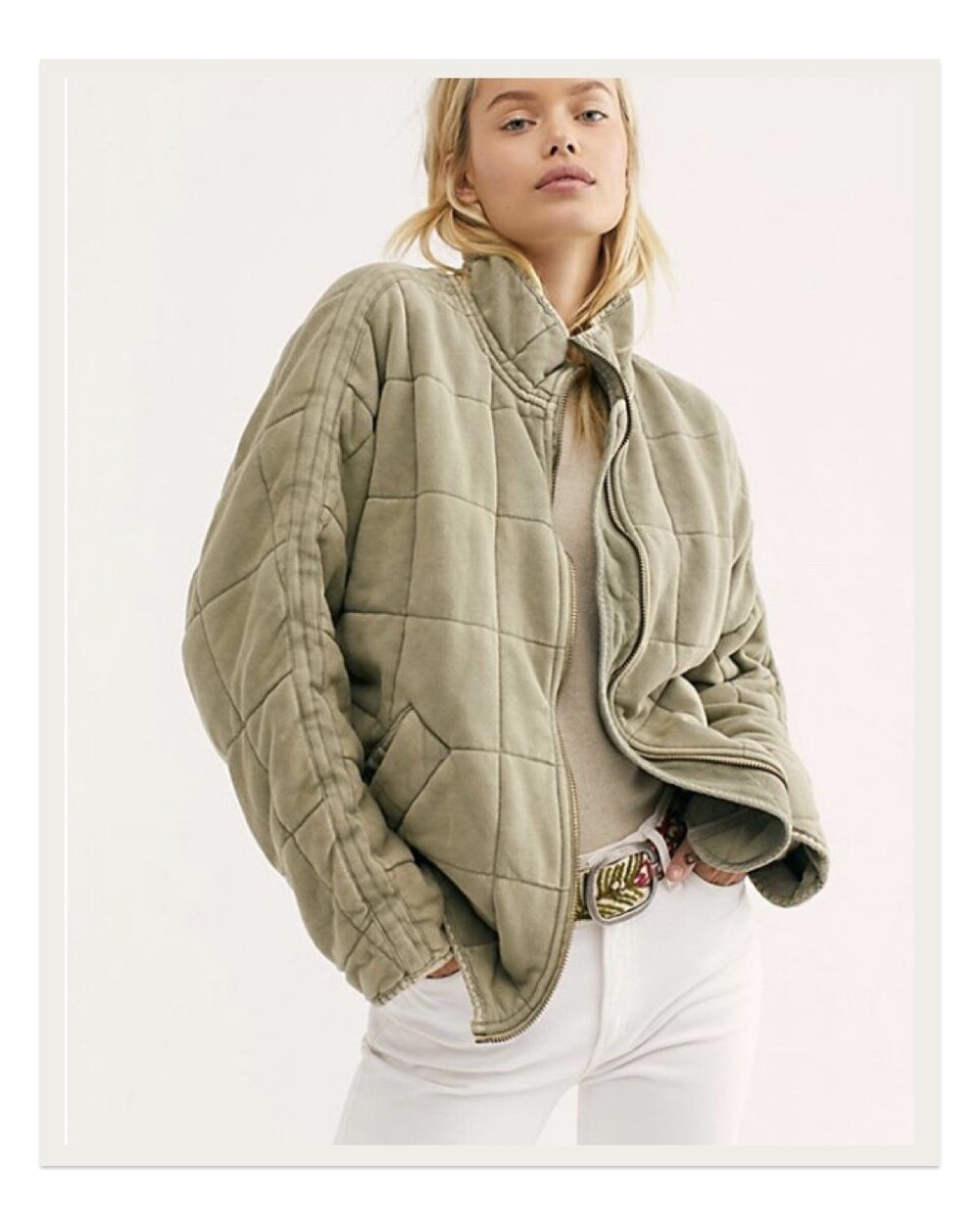 Available in several colors by Free People, this dolman sleeve quilted jacket is the ultimate cozy light coat. It has such an effortlessly cool look to it that's both on trend and classic, and it feels like wearing an upscale sweatshirt.