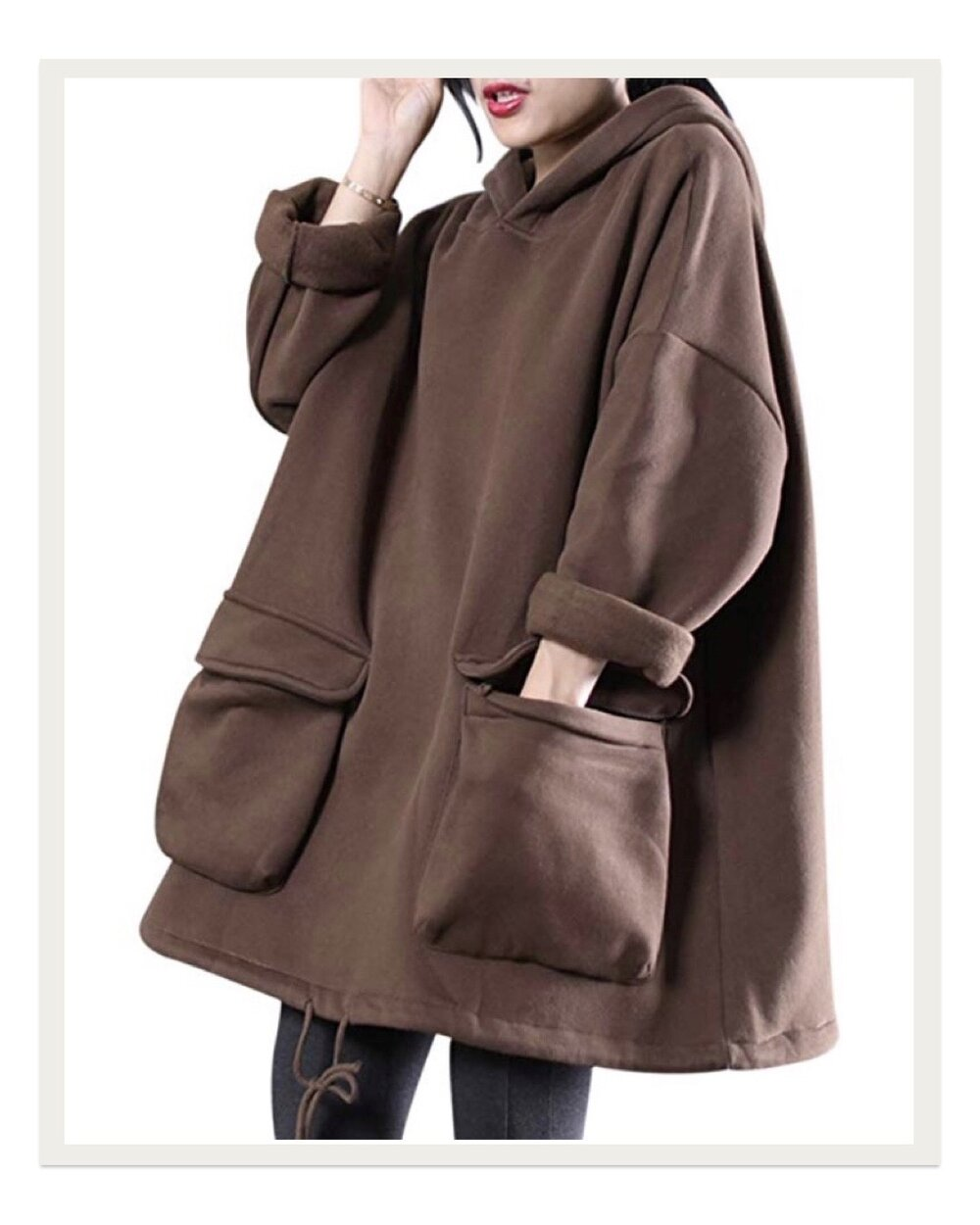 The oversized silhouette and giant pockets on this sweatshirt from Amazon make it look like something off of the runway. I love how cozy yet fashionable it is, and I will likely be living in it all winter.