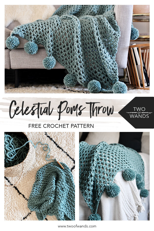 Celestial Poms Throw Pattern by Two of Wands