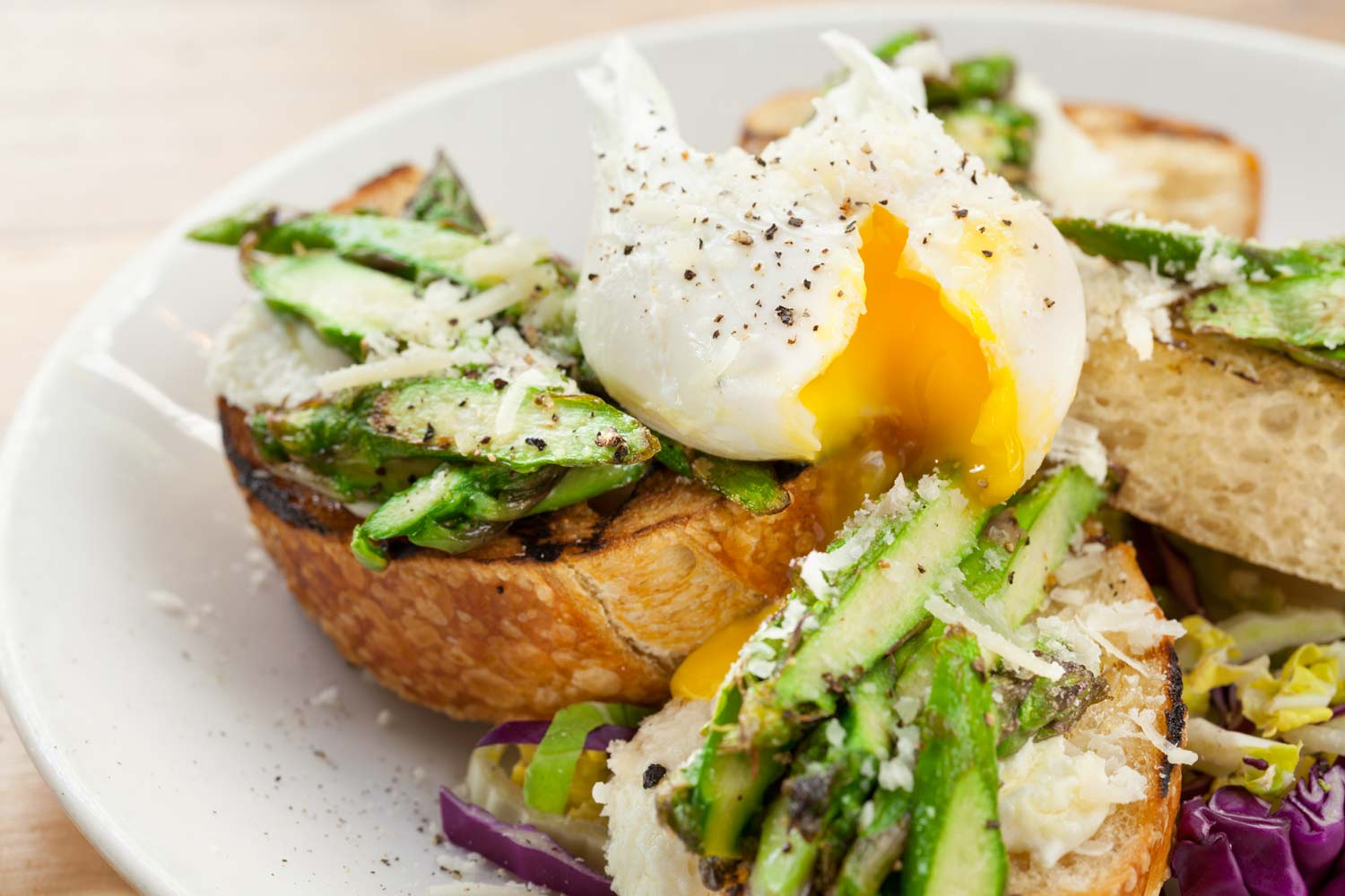 Soft Eggs over Grilled Bread and Asparagus