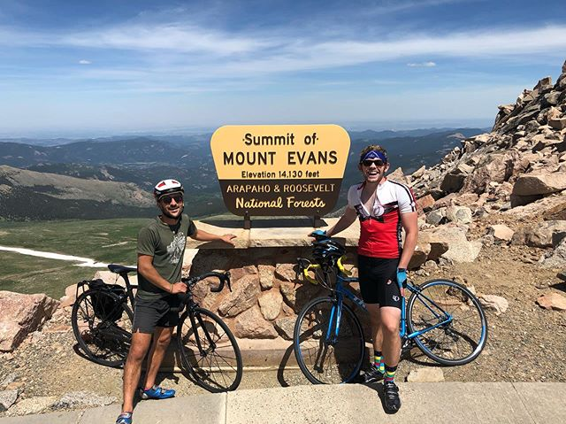 """Operation """"Make Beau Jos Count"""" •56 miles round trip•7,516 ft elevation gain•Idaho Springs to Mt. Evans Summit n' back•2 Beau Jos Pizzas•Soooooo many friendly and encouraging people on the Mountain•Gonna sit down on a not-bike-seat for a little while•"""