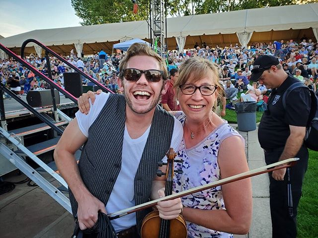 """This is the face you make when your elementary school orchestra teacher happens to be in the crowd for your biggest show to date. Patty Nelson is a force of nature. Through her decades of teaching, her remarkable energy and patience allowed music to change countless young lives including mine. Patty didn't recognize me until I said my name at the end of the set (in her defense, I've got a bit more facial hair now than I did in 6th grade) but a friend who was with her said she commented several times that """"that violinist has a great bow hold"""" so I guess we're doing alright over here."""