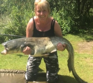 Jan Gartell and her new 42lbs  PB  Cat
