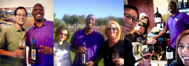 Hunter with friends he made while at Darcie Kent Vineyards.