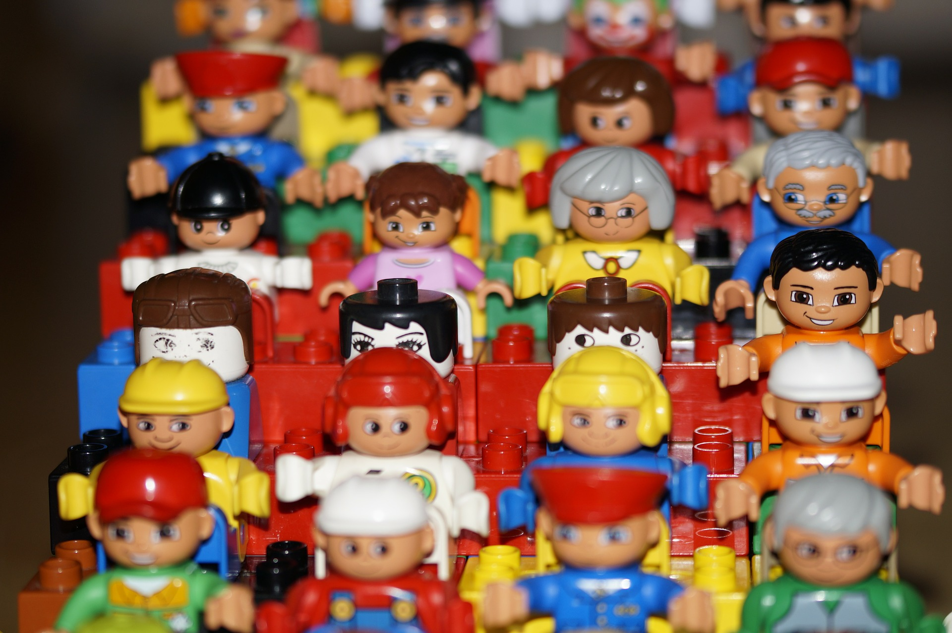 I would probably like flying a lot more if I were surrounded by really creepy smiling Lego people.