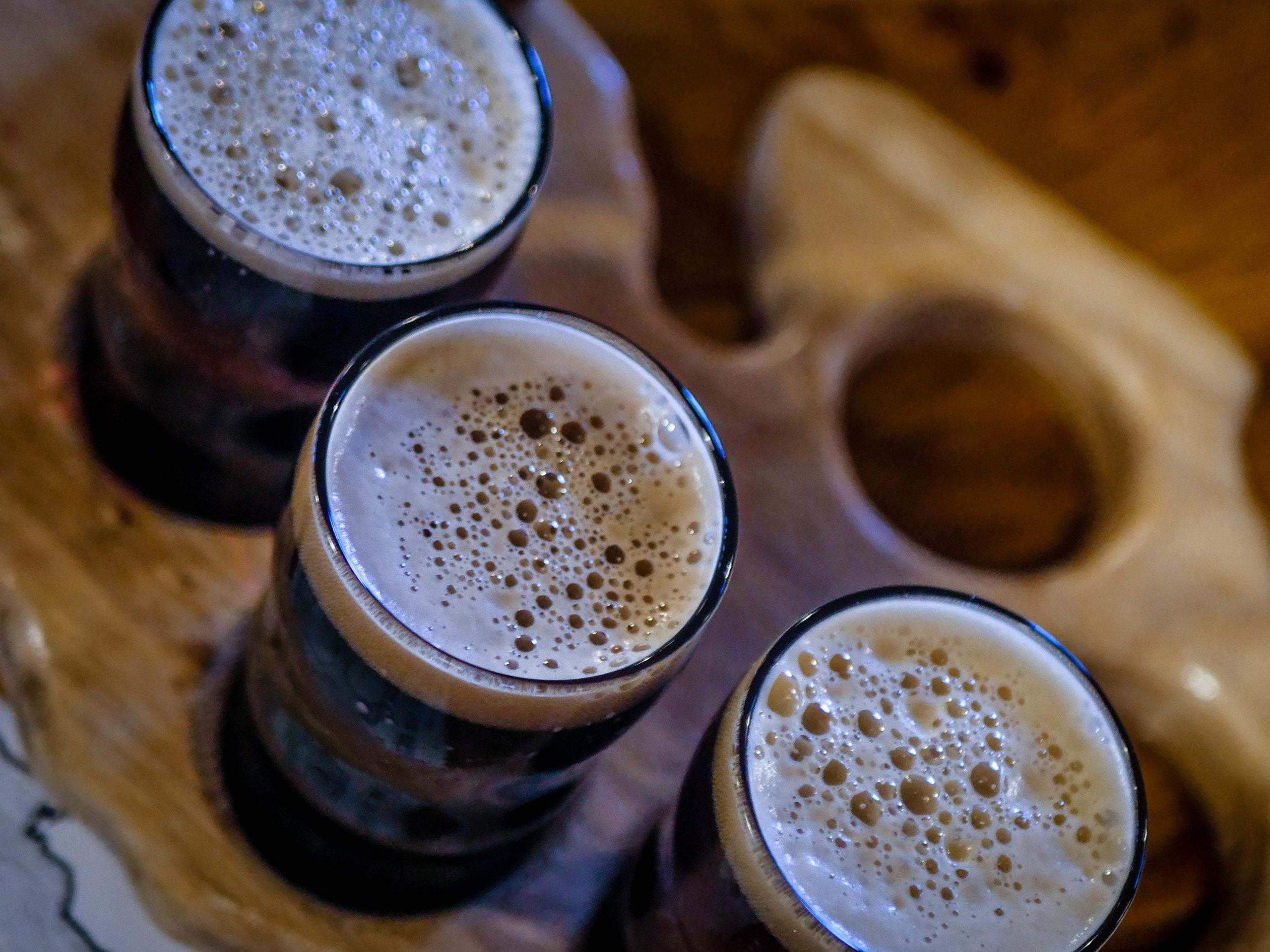 Beer flight from Mitten Brewing Company
