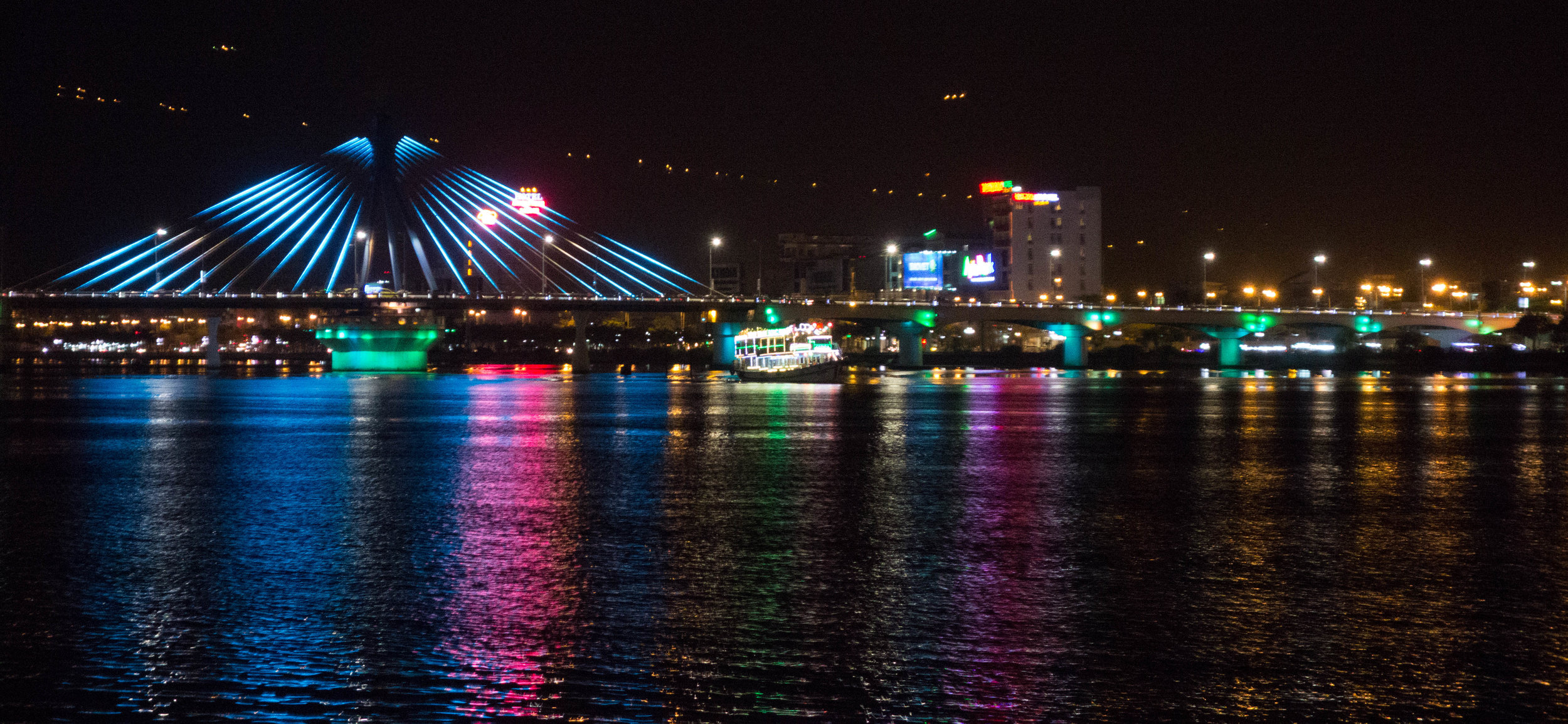 Neon on the Da Nang riverfront