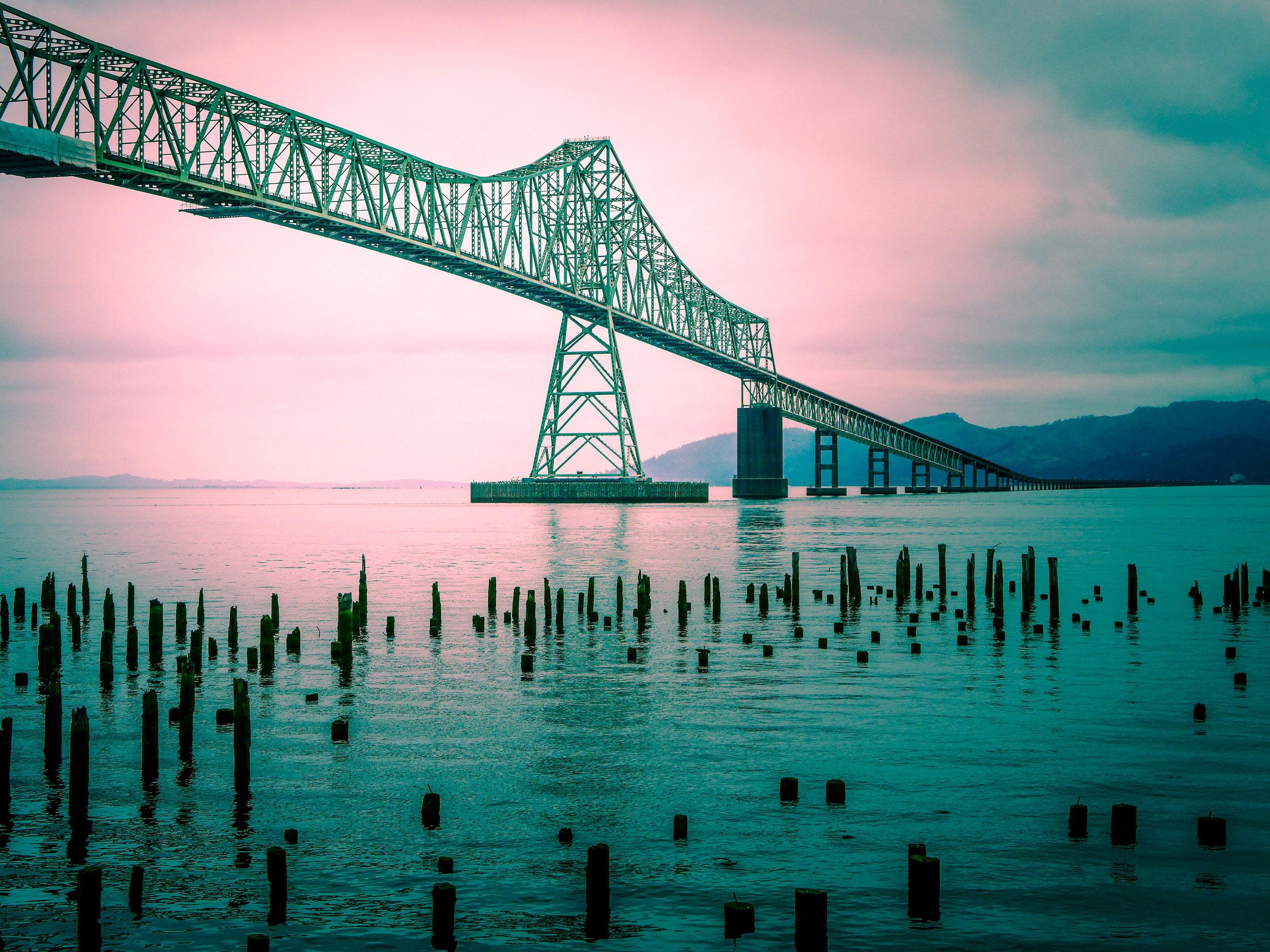 The Astoria-Megler Bridge crosses the Columbia River.