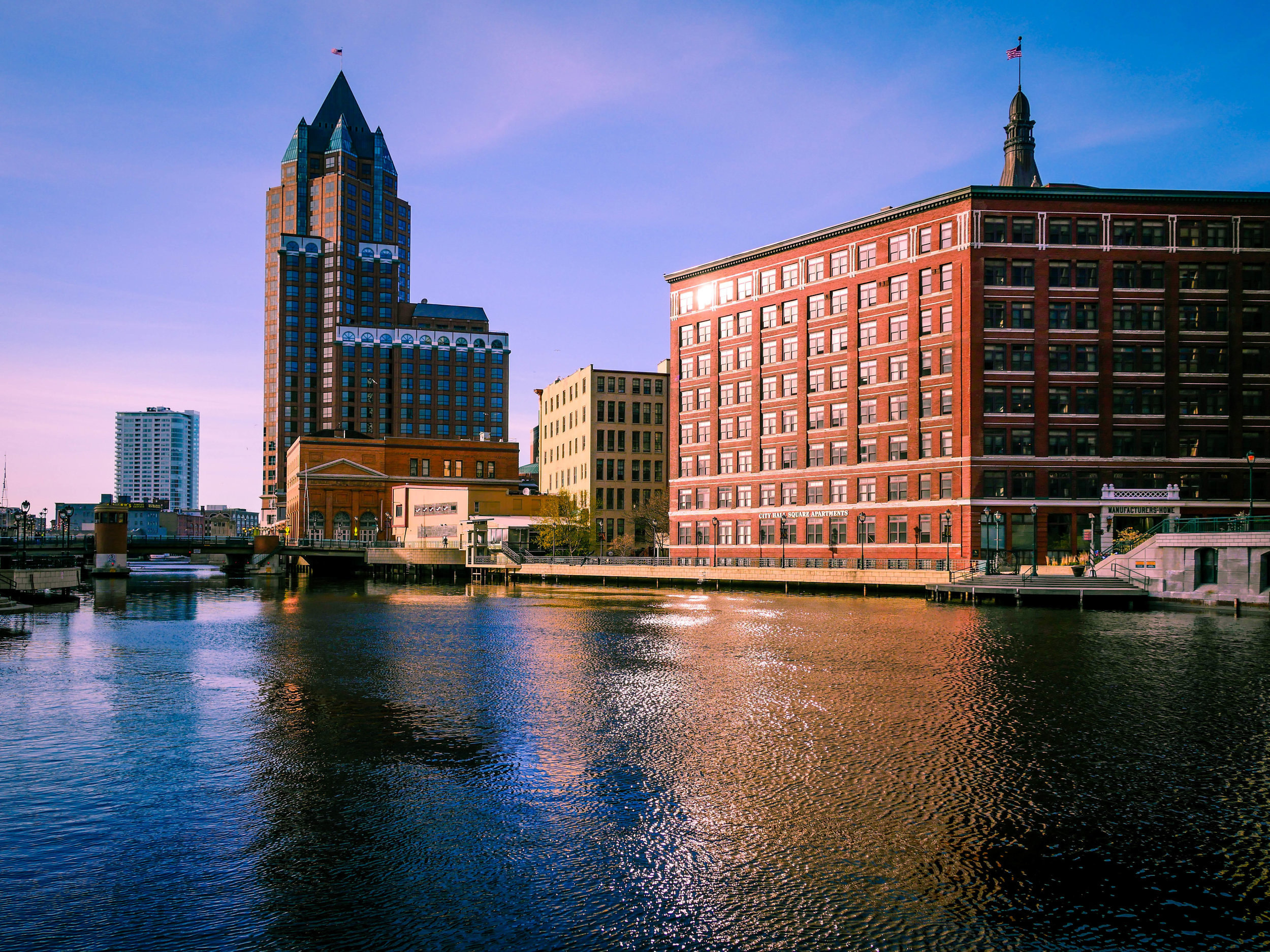 The Milwaukee River runs through downtown Milwaukee and a river walk provides the best views.