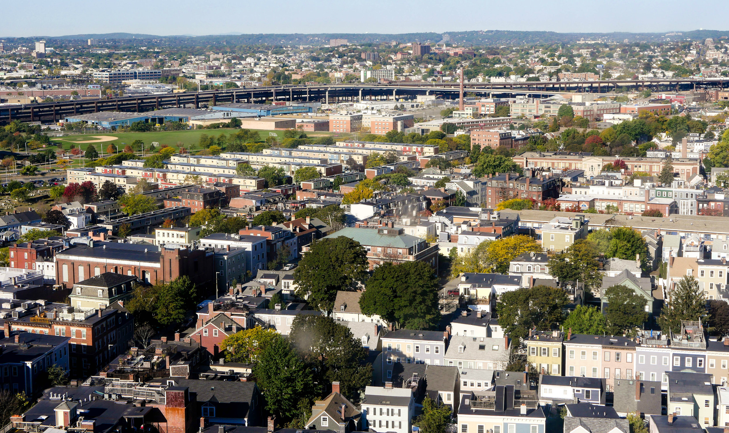 The view of Boston from the Bunker Hill Monument in Charlestown.