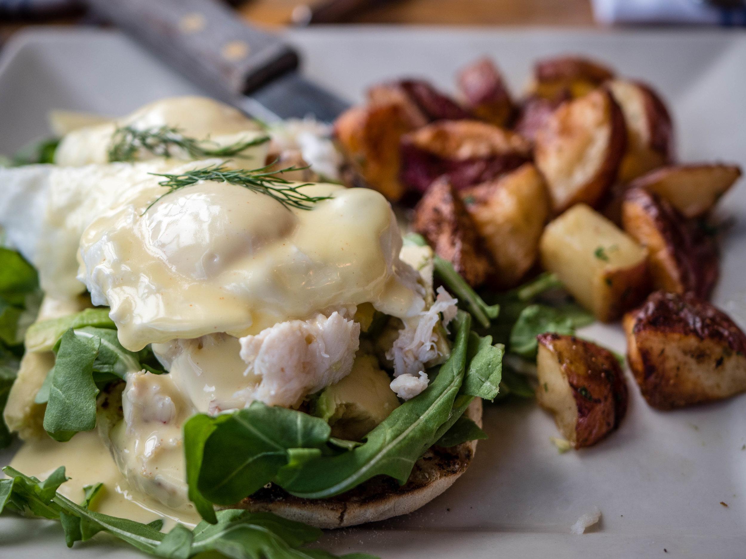 Excellent breakfast of dungeness crab eggs benedict and herbed potatoes
