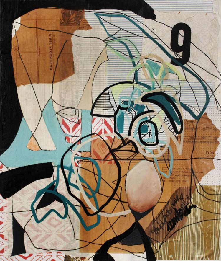 "Renovated Blueprints , mixed media on panel, 28""x24"" Carmen Neely & Elizabeth Arzani"