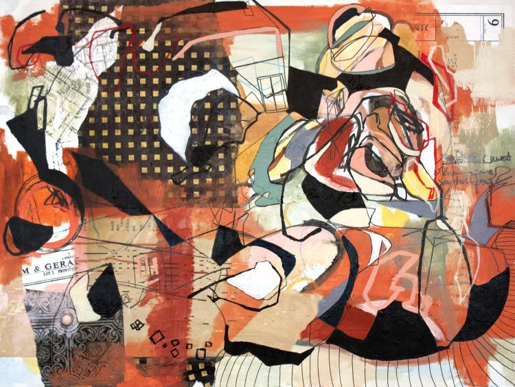 "Blueprints of my Future Friends , mixed media on canvas, 30""x40"" Carmen Neely & Elizabeth Arzani"