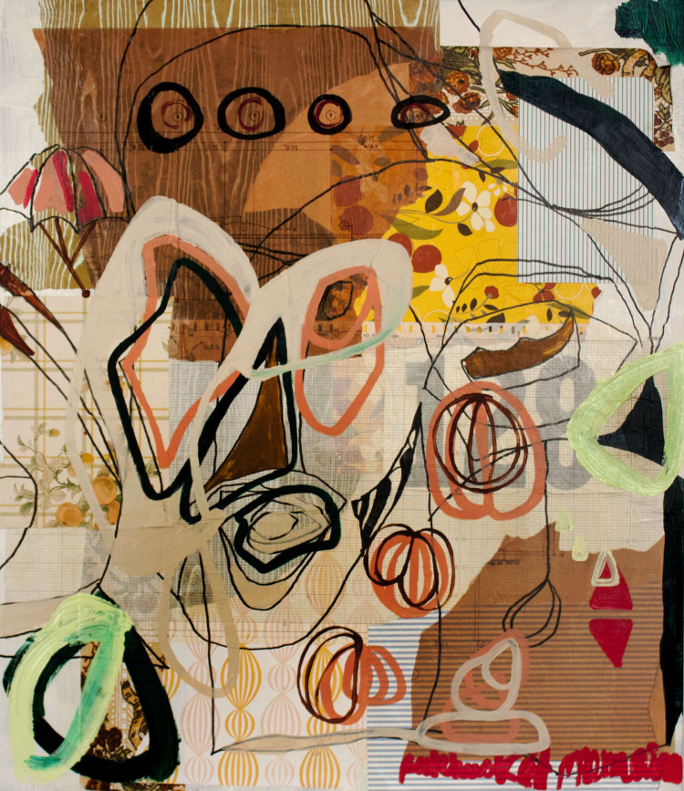 "Patchwork Landscape , mixed media on panel, 28""x24"" Carmen Neely & Elizabeth Arzani"