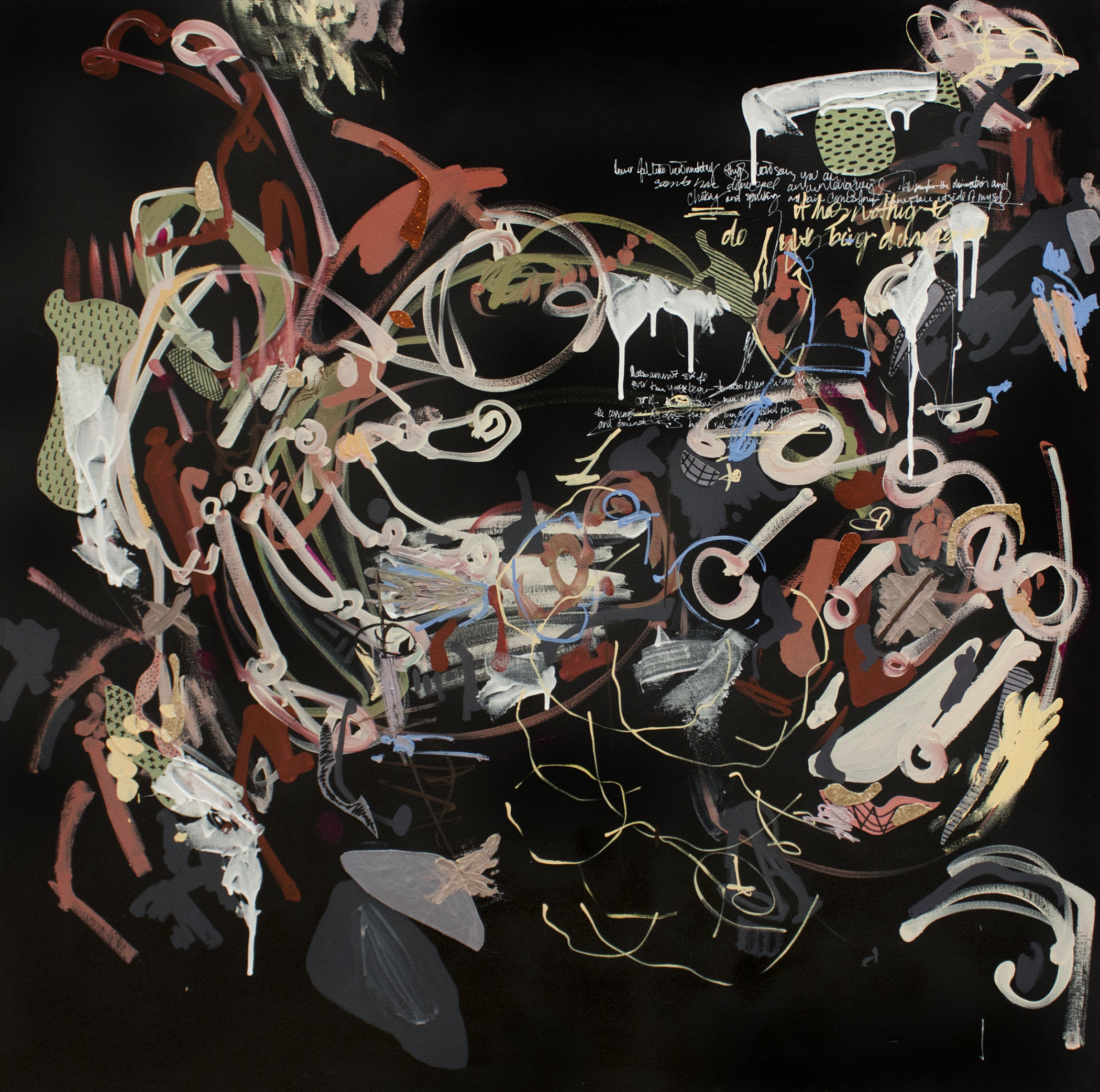 "Accumulations,  collage and acrylic on canvas, 48""x48"", 2014"