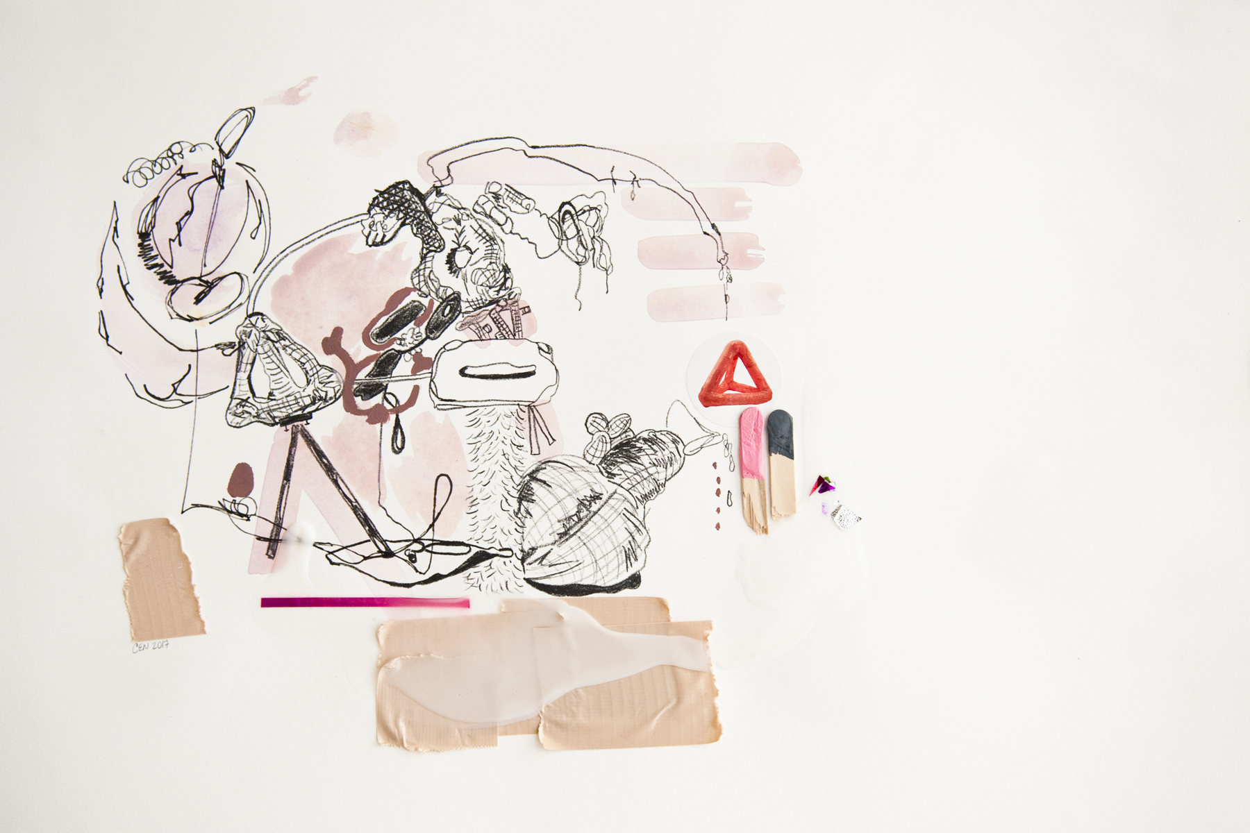 Tina and Murphey Daydream: Two, lithograph, graphite, watercolor, duct tape, glue, wood, vinyl on paper, 13.75 x 19.75 in, 2017