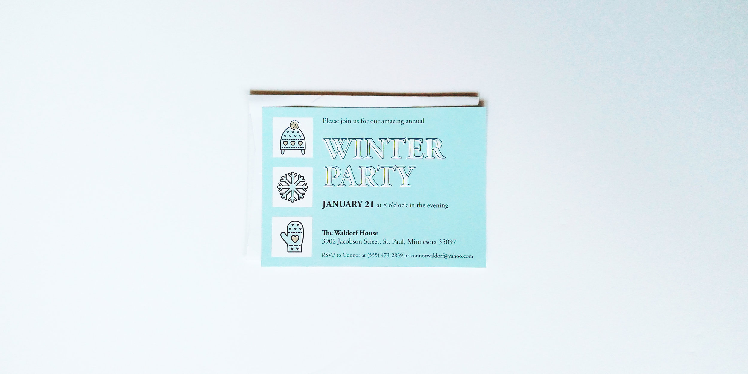Winter Party Invitation Custom Colors Merro Design Co