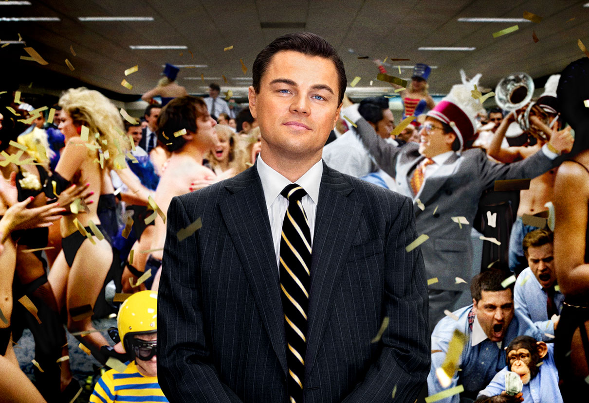 leonardo di caprio in the wolf on wall street