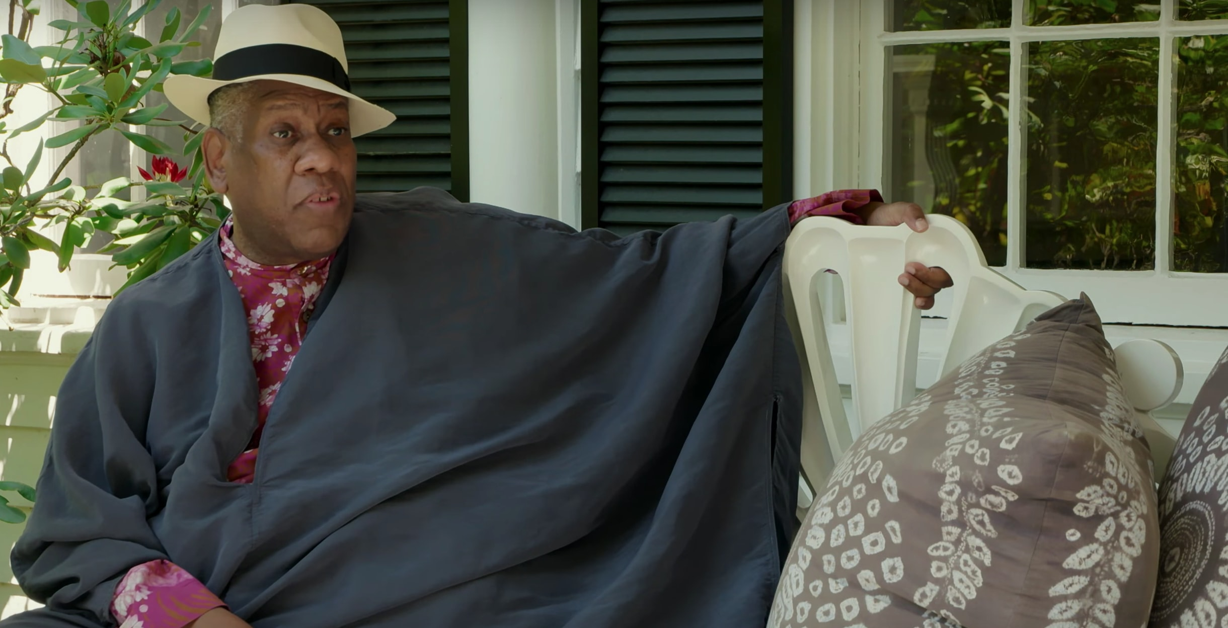Andre Leon Talley on fron porch of his White Plains, New York home