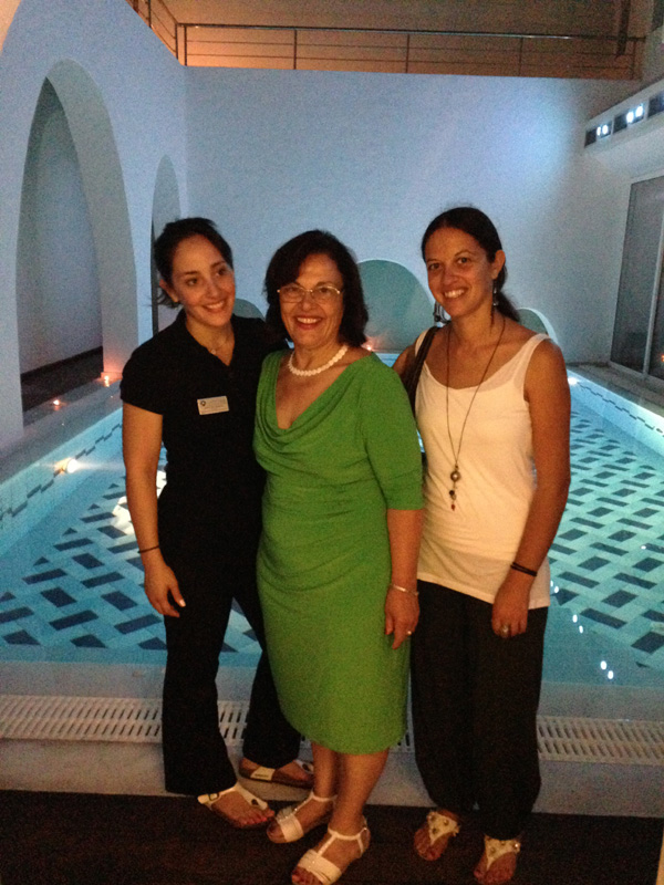 Litsa (AZI coordinator, right) with Ms Kaliovi Giannakopoulou and her mother Mr Irene Giannakopoulou and in their spa in Aegiali. Theirs is the largest and most luxurious hotel in Amorgos. We are so pleased that they are supporters of AZI.