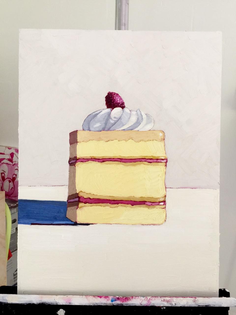 Raspberry cake. oil on board.