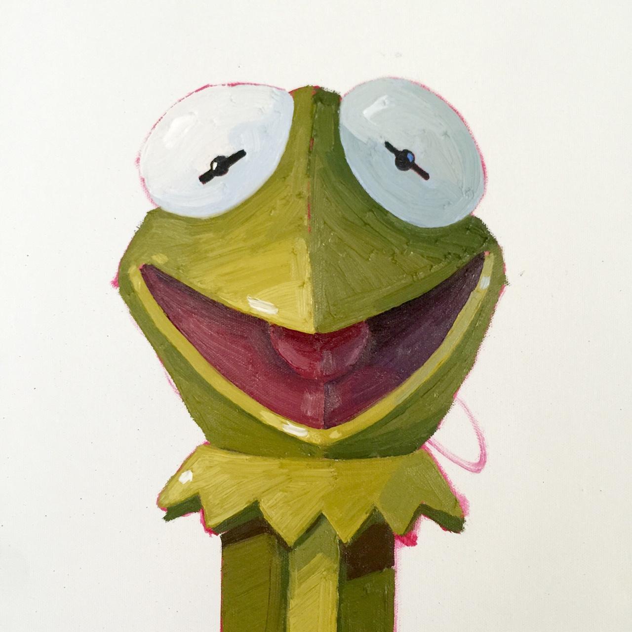 a kermit pez dispenser in progress.