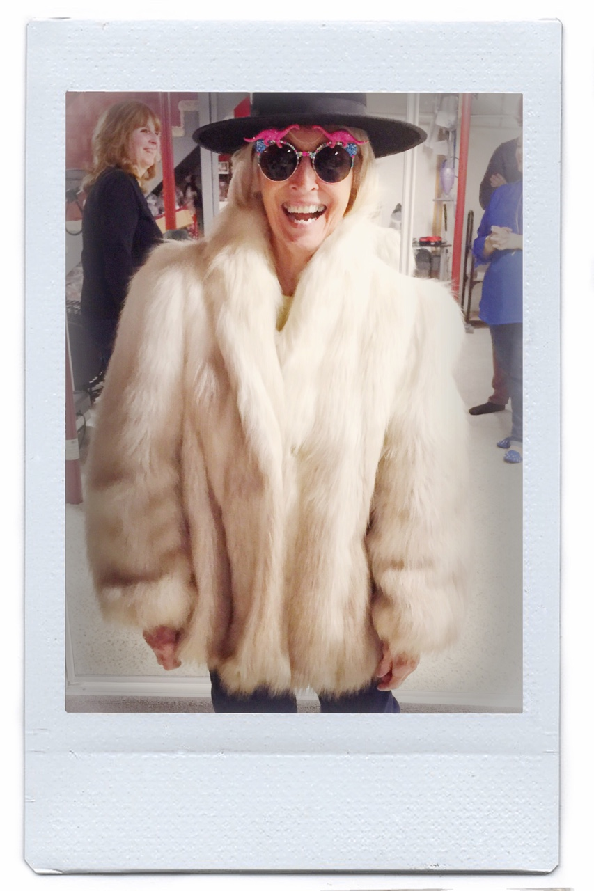 my grandma being amazing. as per usual. this is her faux fur from the 60′s. she borrowed my sunglasses;)