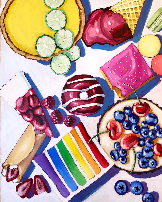 nearly finished 🍒🍰 . . . . . #sweets #sugar #pop #popart #stilllife  #desserttable #dessert #donut #rainbowcake