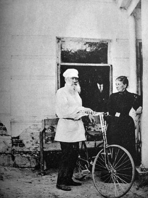 War and Peace author Leo Tolstoy and his Starley Rover Bicycle, 1895.