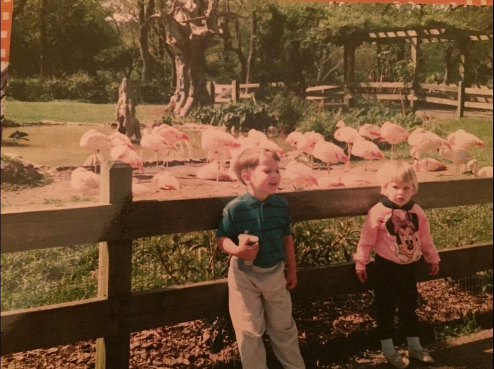 childhood photos, plus flamingos